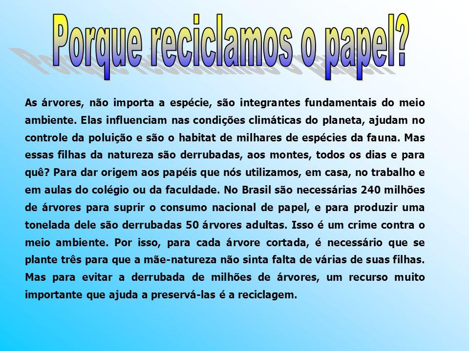 A reciclagem de papel não apenas preserva as árvores, que são cortadas para fabricá-lo, mas também reduz a poluição do ar e da água e poupa energia.