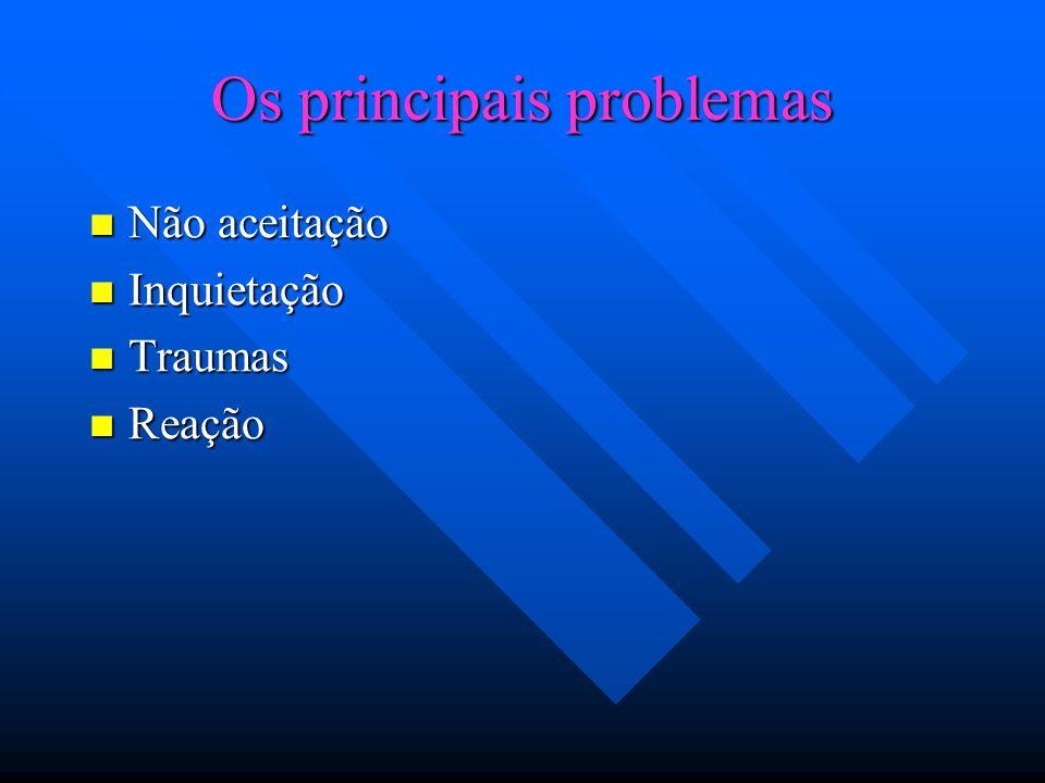 Os principais problemas Não aceitação Não aceitação Inquietação Inquietação Traumas Traumas Reação Reação