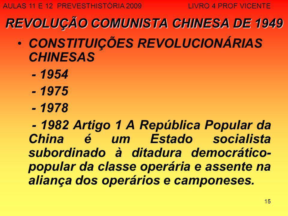 15 REVOLUÇÃO COMUNISTA CHINESA DE 1949 CONSTITUIÇÕES REVOLUCIONÁRIAS CHINESAS - 1954 - 1975 - 1978 - 1982 Artigo 1 A República Popular da China é um E