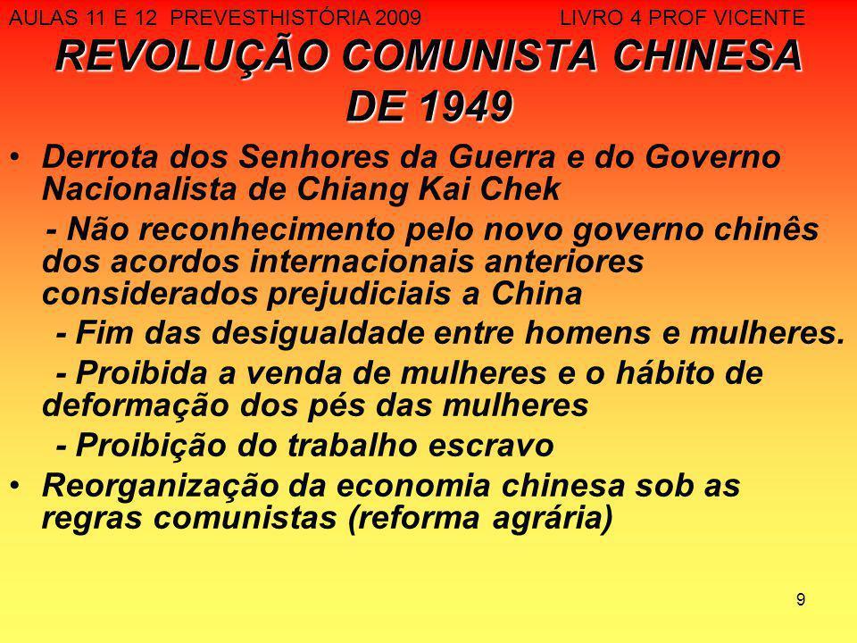 9 REVOLUÇÃO COMUNISTA CHINESA DE 1949 Derrota dos Senhores da Guerra e do Governo Nacionalista de Chiang Kai Chek - Não reconhecimento pelo novo gover