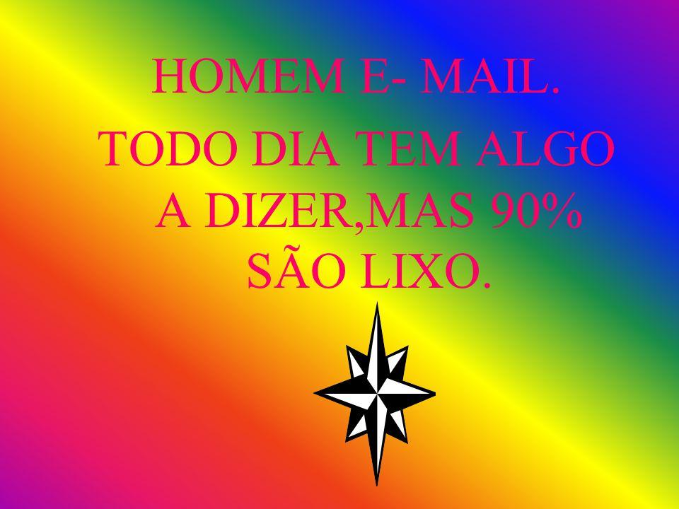 HOMEM E- MAIL. TODO DIA TEM ALGO A DIZER,MAS 90% SÃO LIXO.
