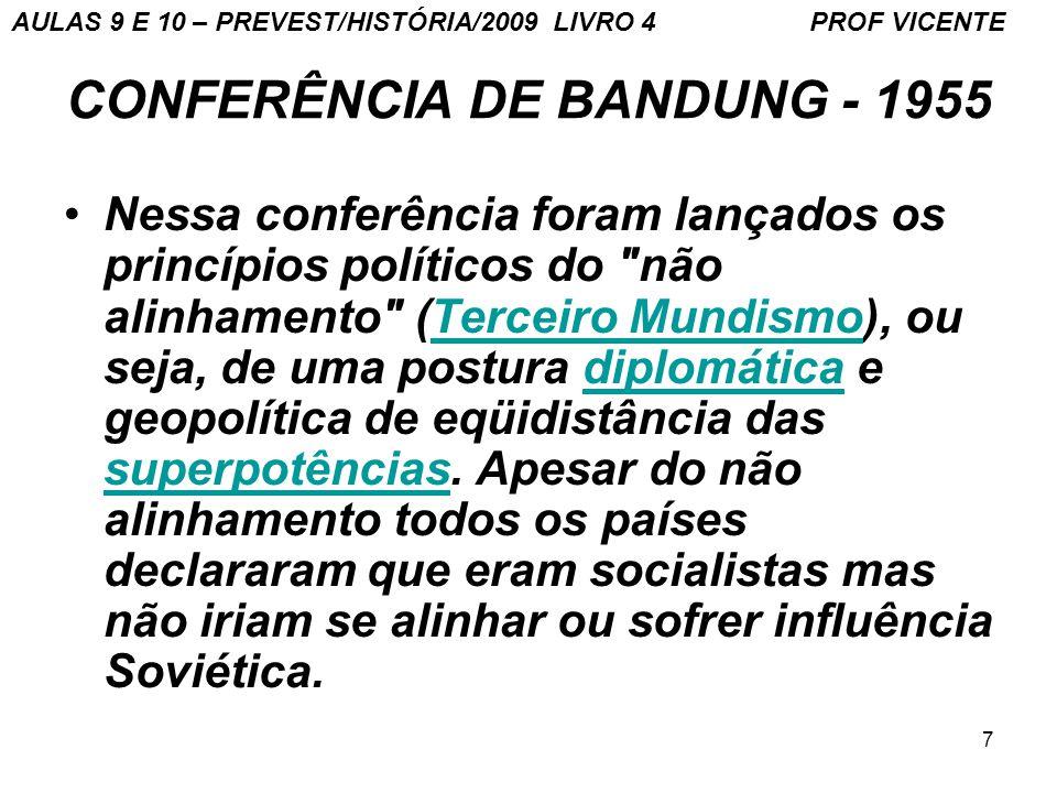 7 CONFERÊNCIA DE BANDUNG - 1955 Nessa conferência foram lançados os princípios políticos do não alinhamento (Terceiro Mundismo), ou seja, de uma postura diplomática e geopolítica de eqüidistância das superpotências.
