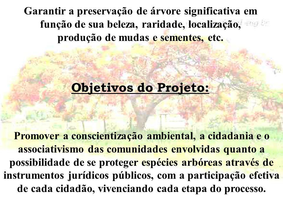 Objetivos do Projeto: Garantir a preservação de árvore significativa em função de sua beleza, raridade, localização, produção de mudas e sementes, etc