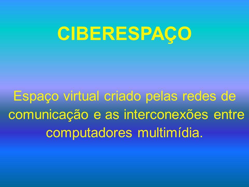 CIBERESPAÇO Espaço virtual criado pelas redes de comunicação e as interconexões entre computadores multimídia.