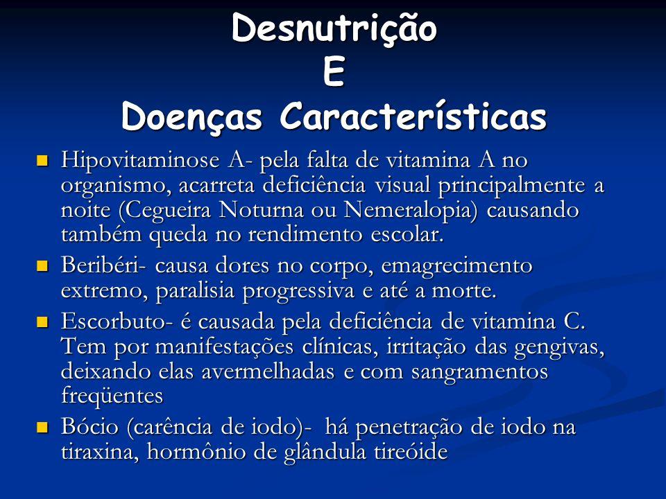 Desnutrição E Doenças Características Hipovitaminose A- pela falta de vitamina A no organismo, acarreta deficiência visual principalmente a noite (Ceg