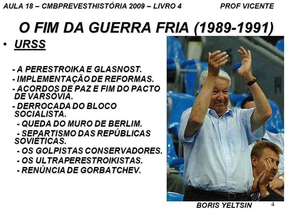 4 O FIM DA GUERRA FRIA (1989-1991) URSSURSS - A PERESTROIKA E GLASNOST.