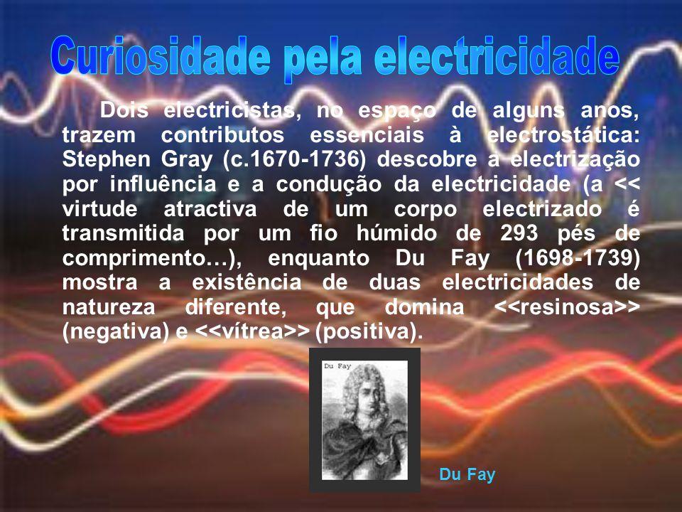 Dois electricistas, no espaço de alguns anos, trazem contributos essenciais à electrostática: Stephen Gray (c.1670-1736) descobre a electrização por i