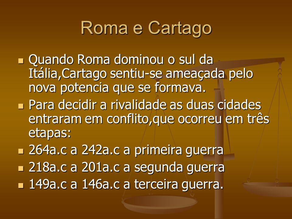 Roma e Cartago Quando Roma dominou o sul da Itália,Cartago sentiu-se ameaçada pelo nova potencia que se formava. Quando Roma dominou o sul da Itália,C