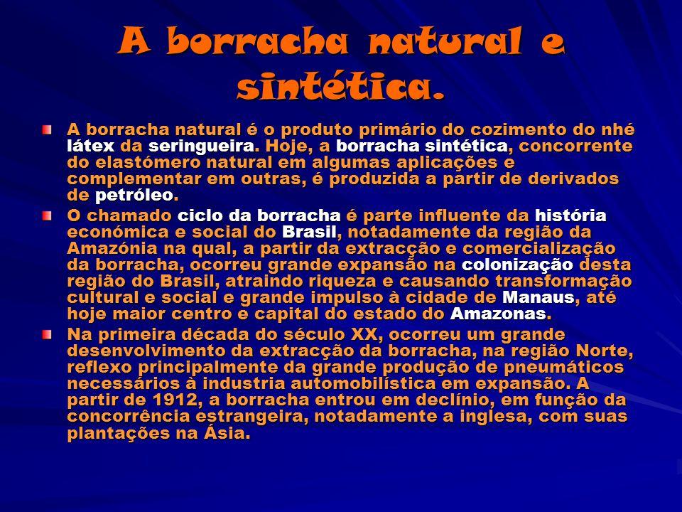 Constituição da borracha Borracha Natural: A borracha natural que vem do látex é, na maior parte, isopreno polimerizado com uma percentagem pequena de impurezas.