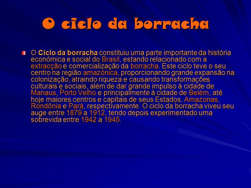 O ciclo da borracha O Ciclo da borracha constituiu uma parte importante da história económica e social do Brasil, estando relacionado com a extracção