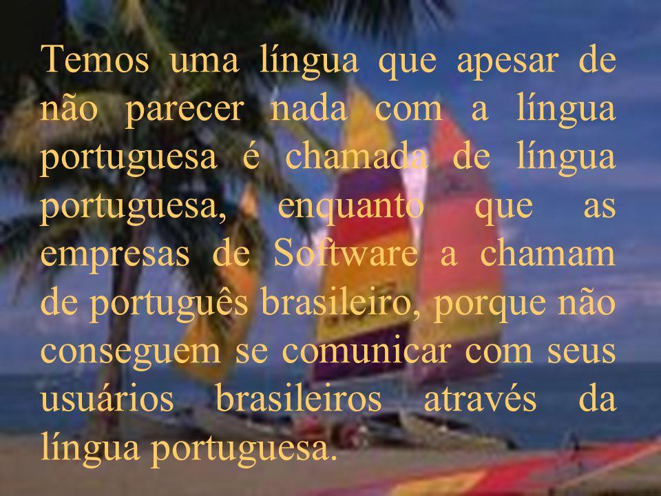 Temos uma língua que apesar de não parecer nada com a língua portuguesa é chamada de língua portuguesa, enquanto que as empresas de Software a chamam