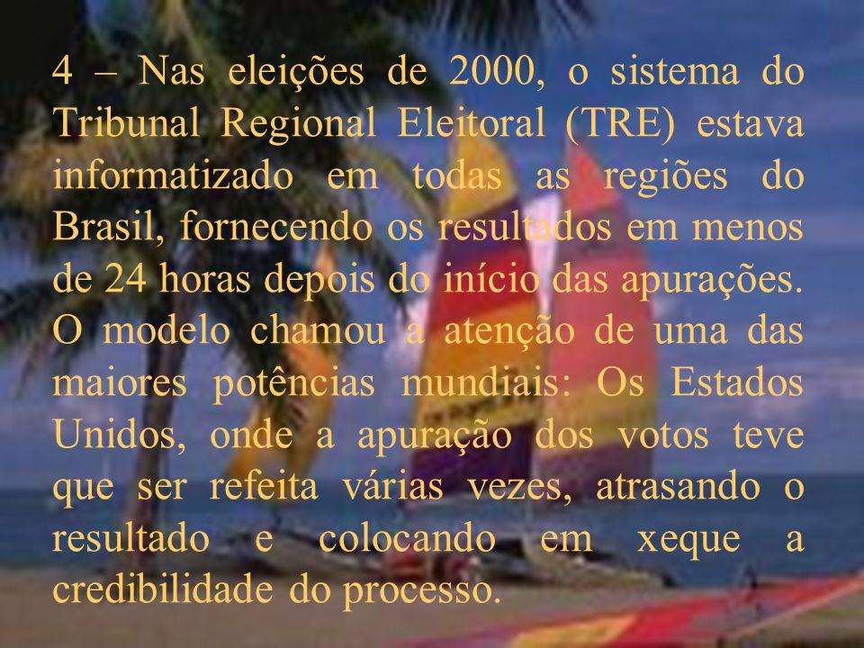4 – Nas eleições de 2000, o sistema do Tribunal Regional Eleitoral (TRE) estava informatizado em todas as regiões do Brasil, fornecendo os resultados