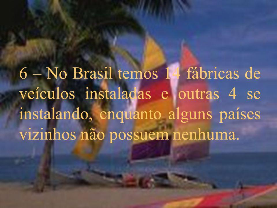 6 – No Brasil temos 14 fábricas de veículos instaladas e outras 4 se instalando, enquanto alguns países vizinhos não possuem nenhuma.
