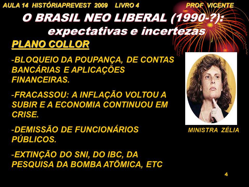 4 O BRASIL NEO LIBERAL (1990-?): expectativas e incertezas AULA 14 HISTÓRIAPREVEST 2009 LIVRO 4 PROF VICENTE PLANO COLLOR -BLOQUEIO DA POUPANÇA, DE CO