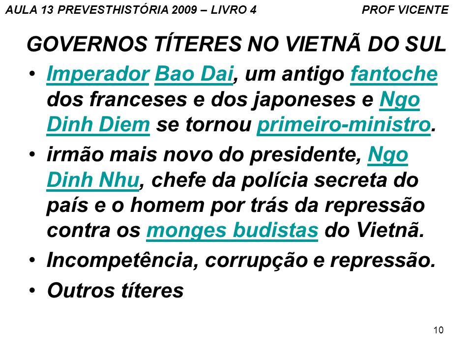 10 GOVERNOS TÍTERES NO VIETNÃ DO SUL Imperador Bao Dai, um antigo fantoche dos franceses e dos japoneses e Ngo Dinh Diem se tornou primeiro-ministro.I