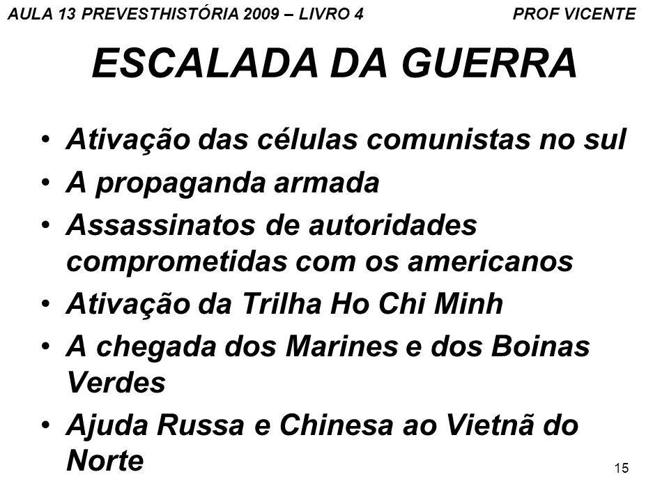 15 ESCALADA DA GUERRA Ativação das células comunistas no sul A propaganda armada Assassinatos de autoridades comprometidas com os americanos Ativação