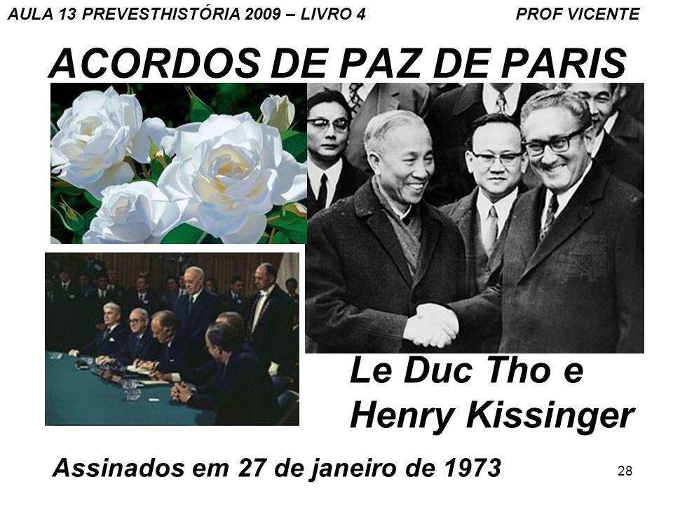 28 ACORDOS DE PAZ DE PARIS Le Duc Tho e Henry Kissinger Assinados em 27 de janeiro de 1973 AULA 13 PREVESTHISTÓRIA 2009 – LIVRO 4 PROF VICENTE