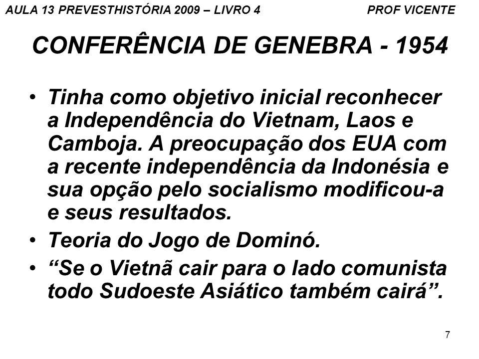 7 CONFERÊNCIA DE GENEBRA - 1954 Tinha como objetivo inicial reconhecer a Independência do Vietnam, Laos e Camboja. A preocupação dos EUA com a recente