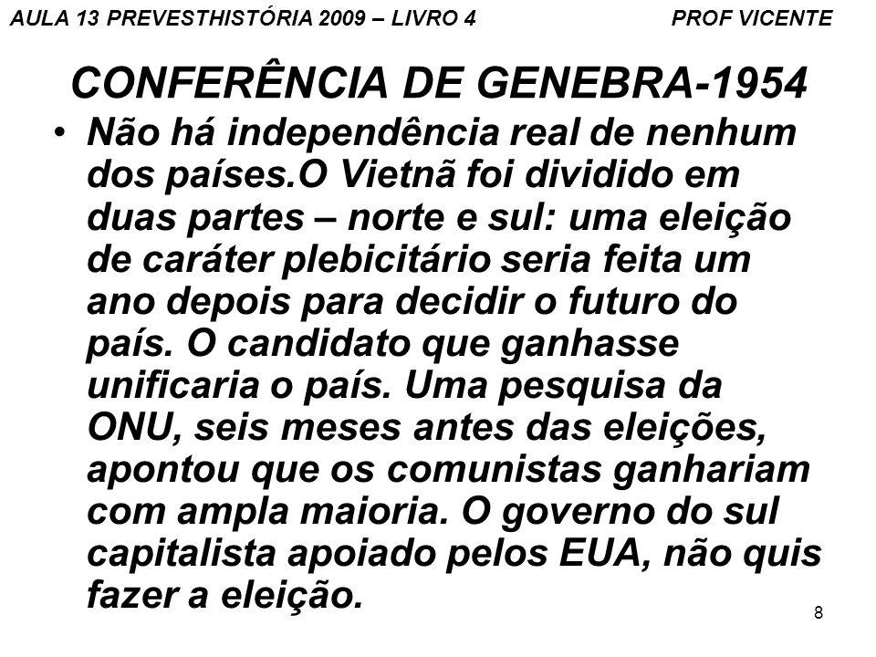 8 CONFERÊNCIA DE GENEBRA-1954 Não há independência real de nenhum dos países.O Vietnã foi dividido em duas partes – norte e sul: uma eleição de caráte