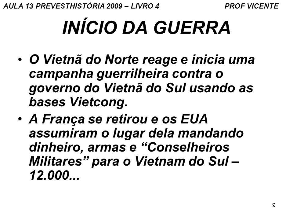 9 INÍCIO DA GUERRA O Vietnã do Norte reage e inicia uma campanha guerrilheira contra o governo do Vietnã do Sul usando as bases Vietcong. A França se