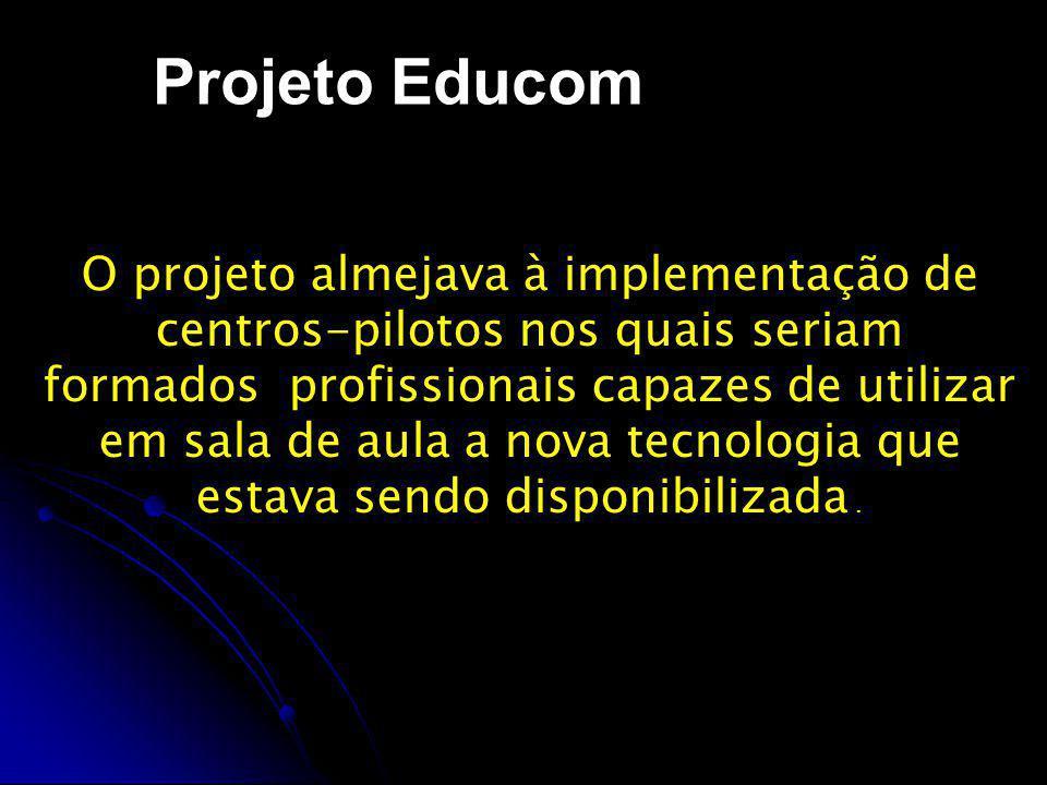 Projeto Proninfe O PRONINFE apresentou os seguintes resultados no período de 1980 - 1995: O PRONINFE apresentou os seguintes resultados no período de 1980 - 1995: 44 centros de informática na educação implantados, a maioria interligada na Internet.