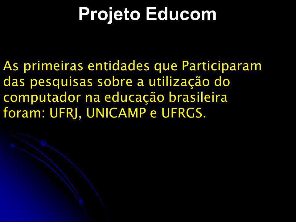 Projeto Proninfe 400 laboratórios de informática educativa em escolas públicas, financiados por governos estaduais e municipais.