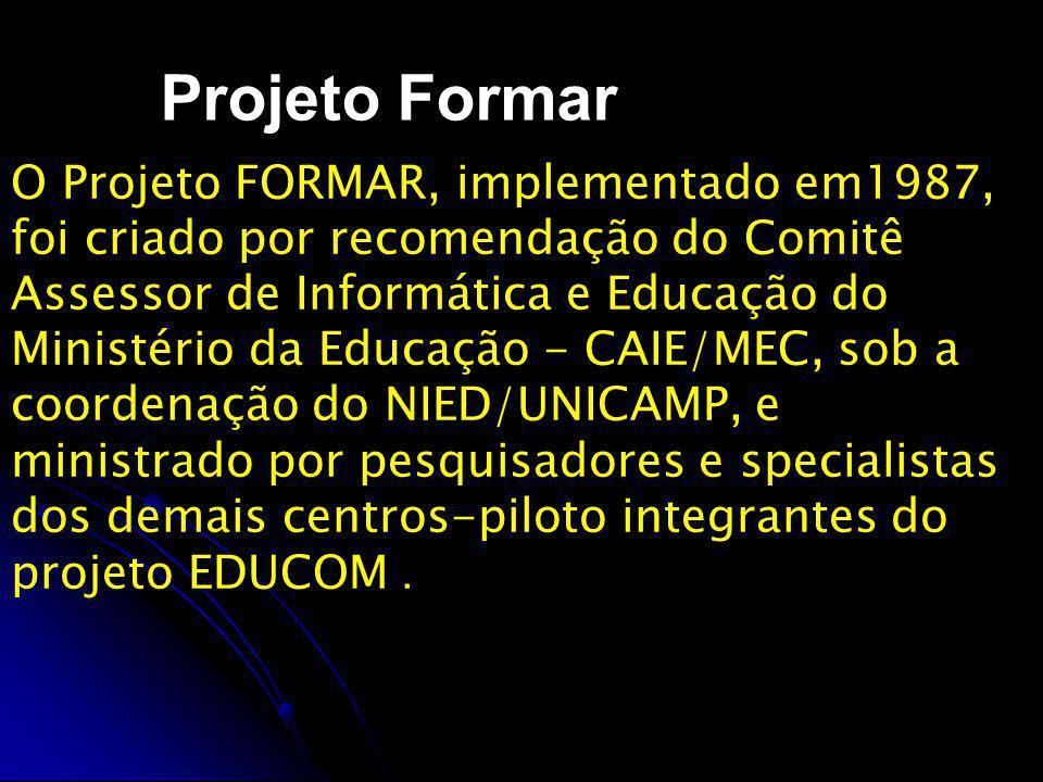 Projeto Formar Destinava-se, em sua primeira etapa, à formação de profissionais para atuarem nos diversos centros de informática educativa dos sistemas públicos de educação.