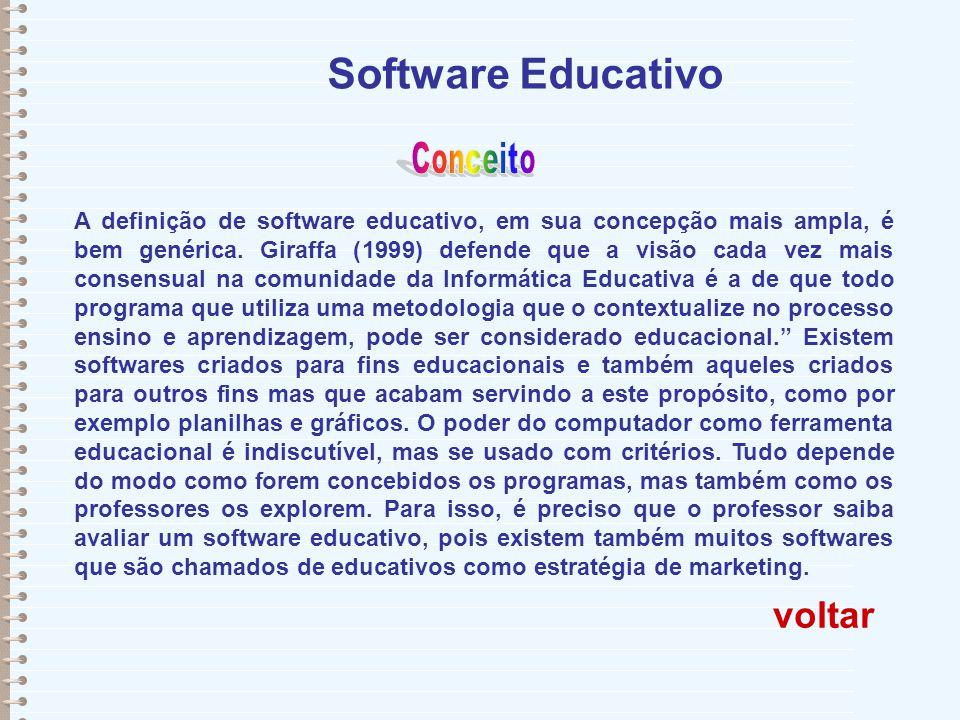 Software Educativo A definição de software educativo, em sua concepção mais ampla, é bem genérica. Giraffa (1999) defende que a visão cada vez mais co