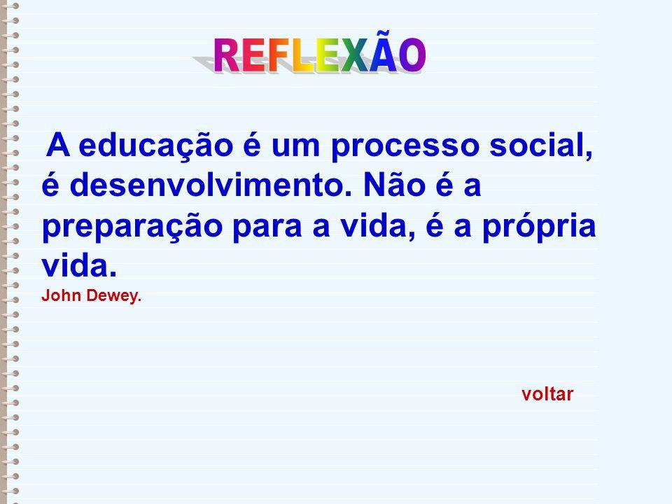 voltar A educação é um processo social, é desenvolvimento. Não é a preparação para a vida, é a própria vida. John Dewey.