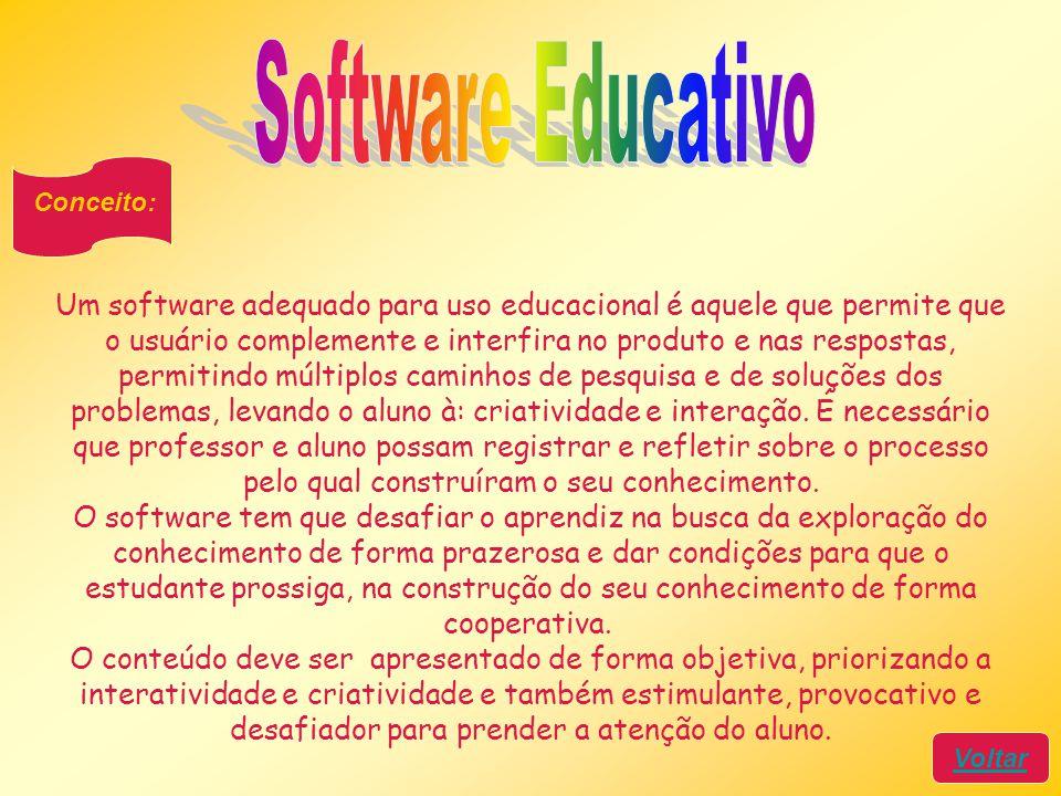 Conceito: Voltar Um software adequado para uso educacional é aquele que permite que o usuário complemente e interfira no produto e nas respostas, perm
