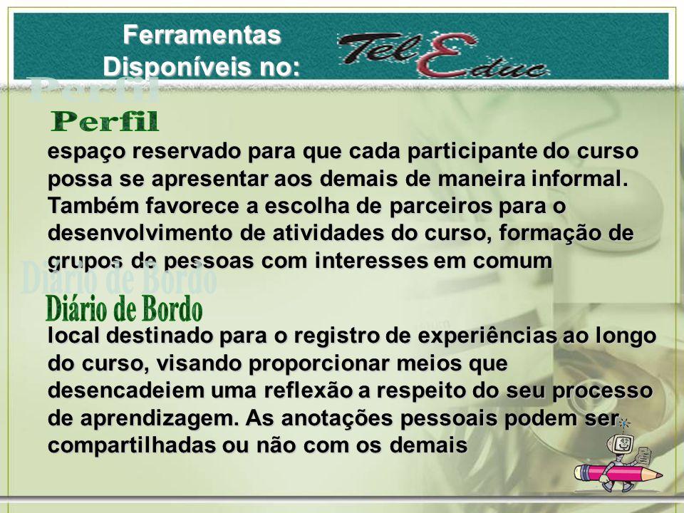 Ferramentas Disponíveis no: espaço reservado para que cada participante do curso possa se apresentar aos demais de maneira informal.