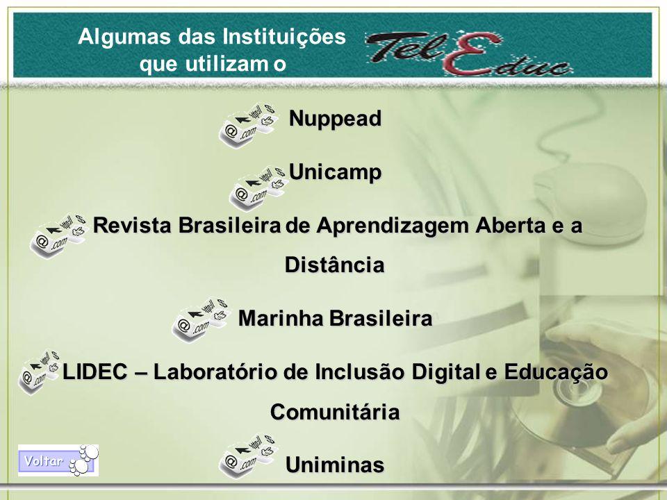 Algumas das Instituições que utilizam o NuppeadUnicamp Revista Brasileira de Aprendizagem Aberta e a Distância Revista Brasileira de Aprendizagem Aberta e a Distância Marinha Brasileira LIDEC – Laboratório de Inclusão Digital e Educação Comunitária Uniminas
