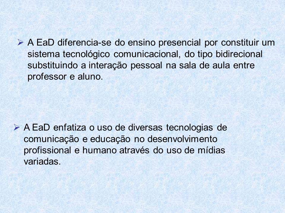 A EaD diferencia-se do ensino presencial por constituir um sistema tecnológico comunicacional, do tipo bidirecional substituindo a interação pessoal na sala de aula entre professor e aluno.