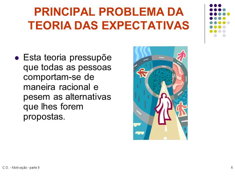 C.O. - Motivação - parte II6 PRINCIPAL PROBLEMA DA TEORIA DAS EXPECTATIVAS Esta teoria pressupõe que todas as pessoas comportam-se de maneira racional