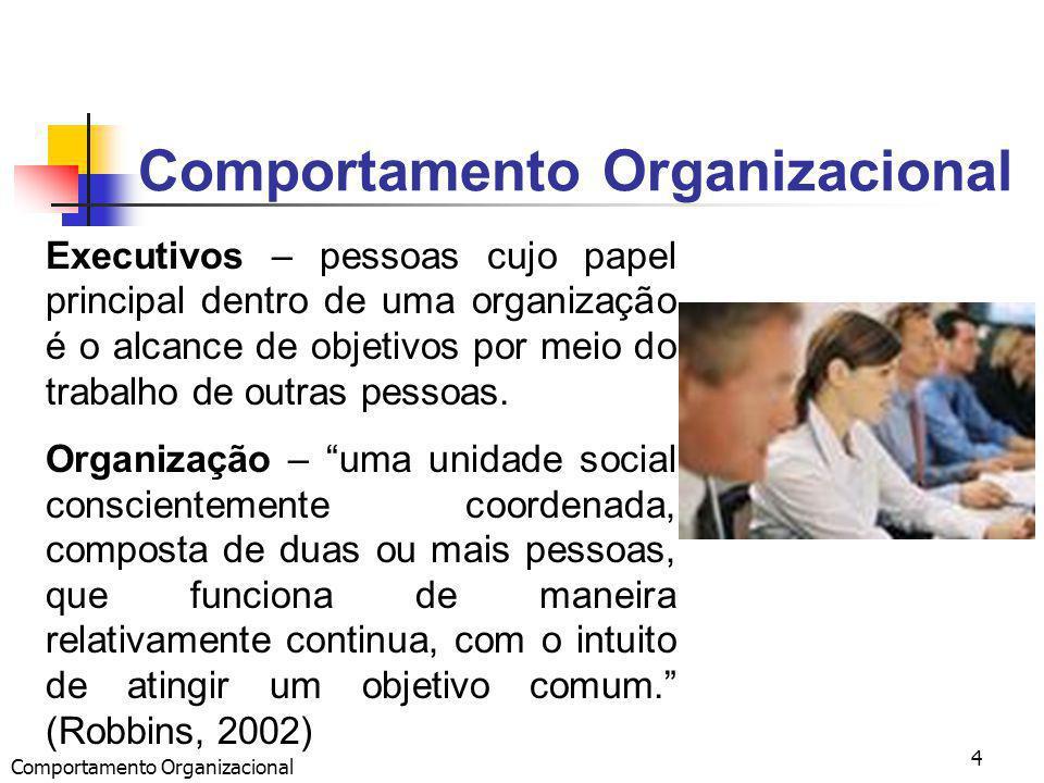 Comportamento Organizacional 4 Executivos – pessoas cujo papel principal dentro de uma organização é o alcance de objetivos por meio do trabalho de outras pessoas.