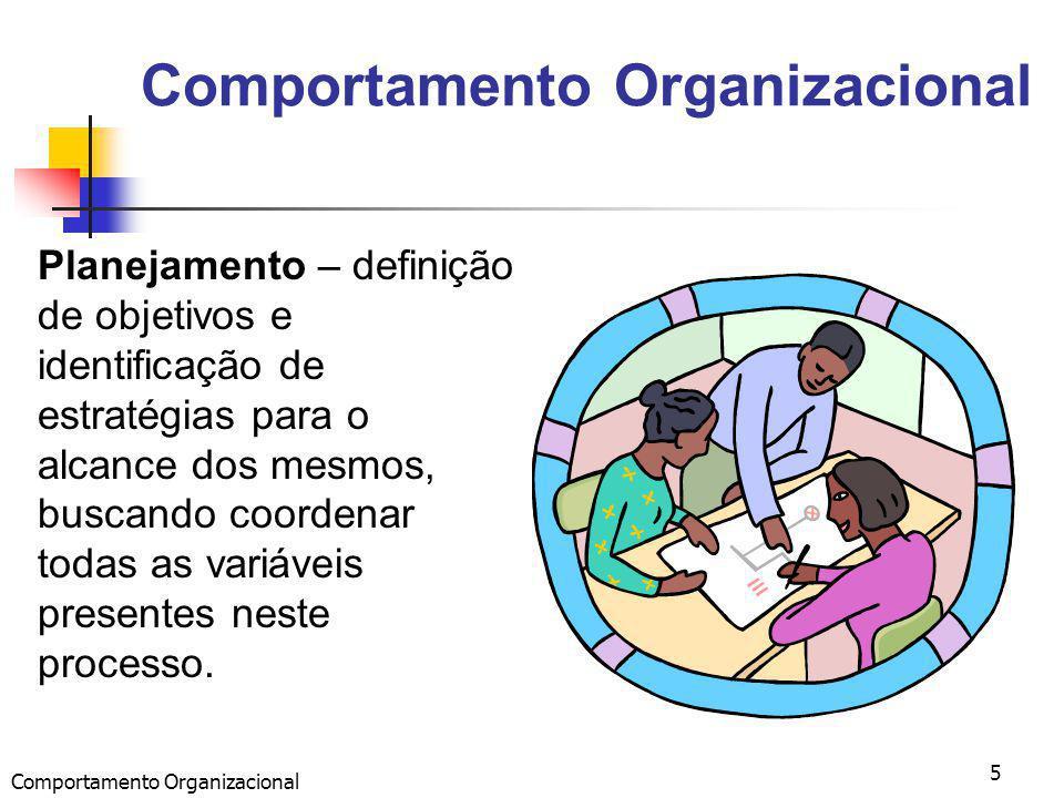 Comportamento Organizacional 5 Planejamento – definição de objetivos e identificação de estratégias para o alcance dos mesmos, buscando coordenar todas as variáveis presentes neste processo.