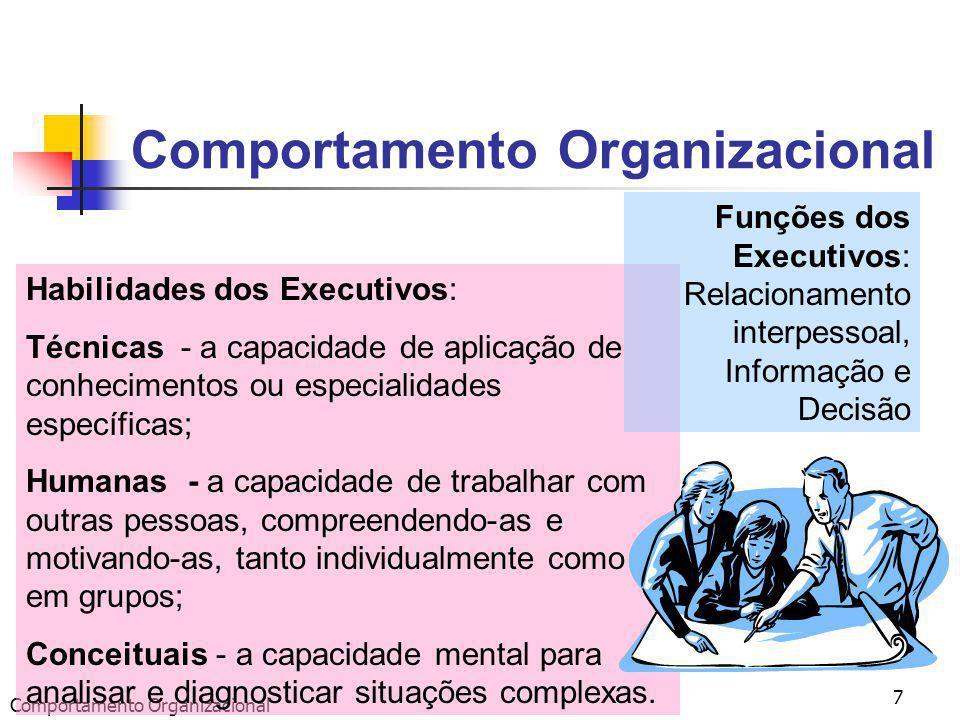 Comportamento Organizacional 7 Habilidades dos Executivos: Técnicas - a capacidade de aplicação de conhecimentos ou especialidades específicas; Humanas - a capacidade de trabalhar com outras pessoas, compreendendo-as e motivando-as, tanto individualmente como em grupos; Conceituais - a capacidade mental para analisar e diagnosticar situações complexas.