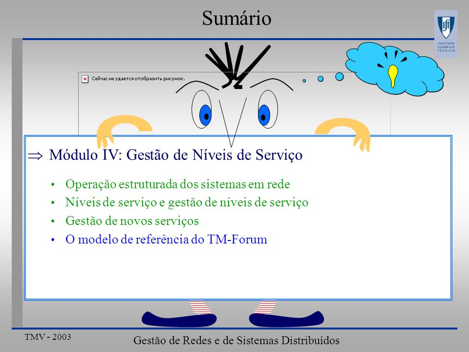 TMV - 2003 Gestão de Redes e de Sistemas Distribuídos ???? Sumário Módulo IV: Gestão de Níveis de Serviço Operação estruturada dos sistemas em rede Ní