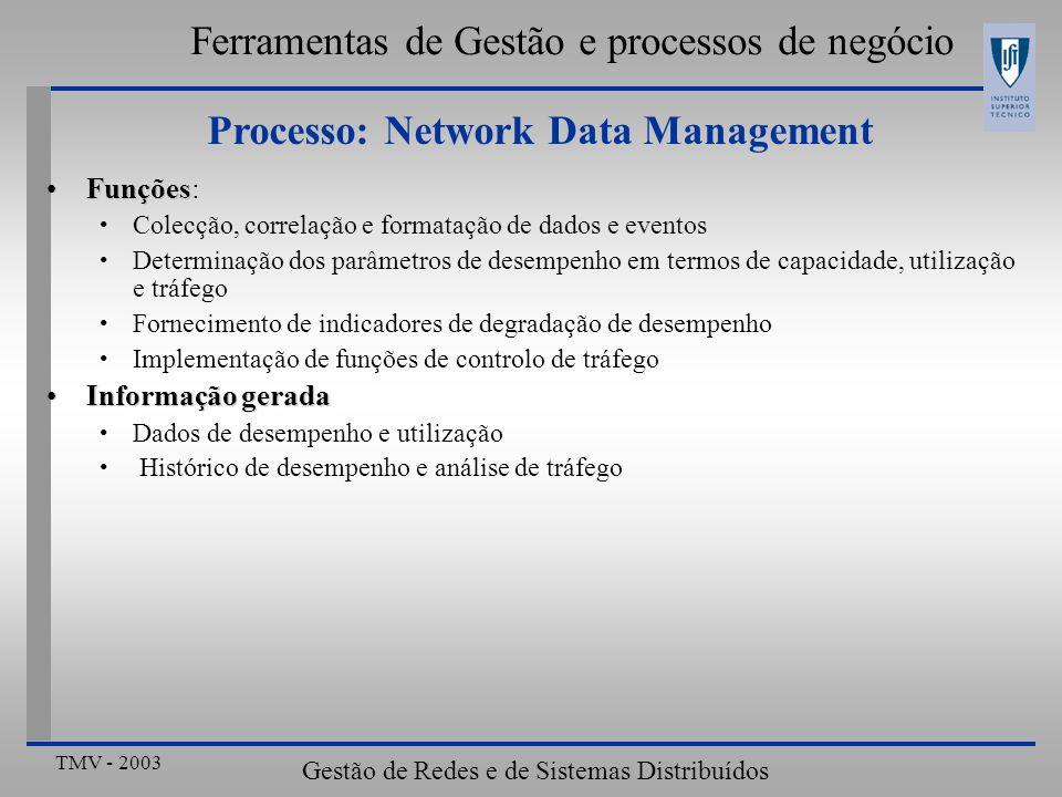 TMV - 2003 Gestão de Redes e de Sistemas Distribuídos Ferramentas de Gestão e processos de negócio Processo: Network Data Management FunçõesFunções: Colecção, correlação e formatação de dados e eventos Determinação dos parâmetros de desempenho em termos de capacidade, utilização e tráfego Fornecimento de indicadores de degradação de desempenho Implementação de funções de controlo de tráfego Informação geradaInformação gerada Dados de desempenho e utilização Histórico de desempenho e análise de tráfego