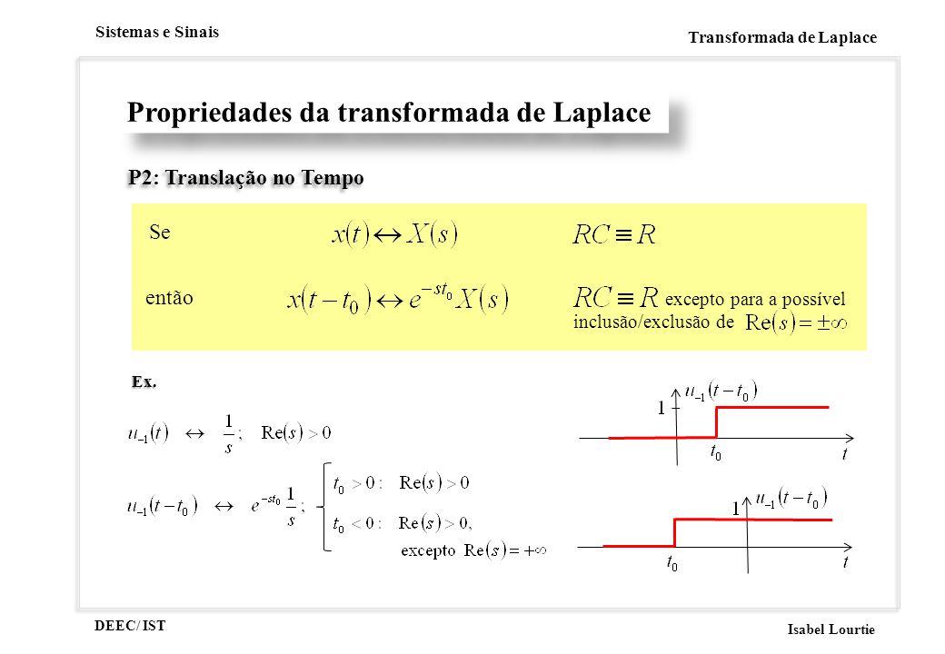 DEEC/ IST Isabel Lourtie Sistemas e Sinais Transformada de Laplace Propriedades da transformada de Laplace P2: Translação no Tempo Se então excepto pa