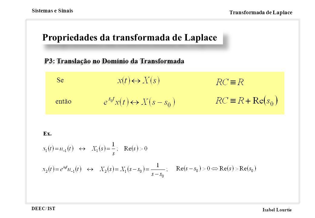 DEEC/ IST Isabel Lourtie Sistemas e Sinais Transformada de Laplace P3: Translação no Domínio da Transformada Se então Propriedades da transformada de Laplace Ex.