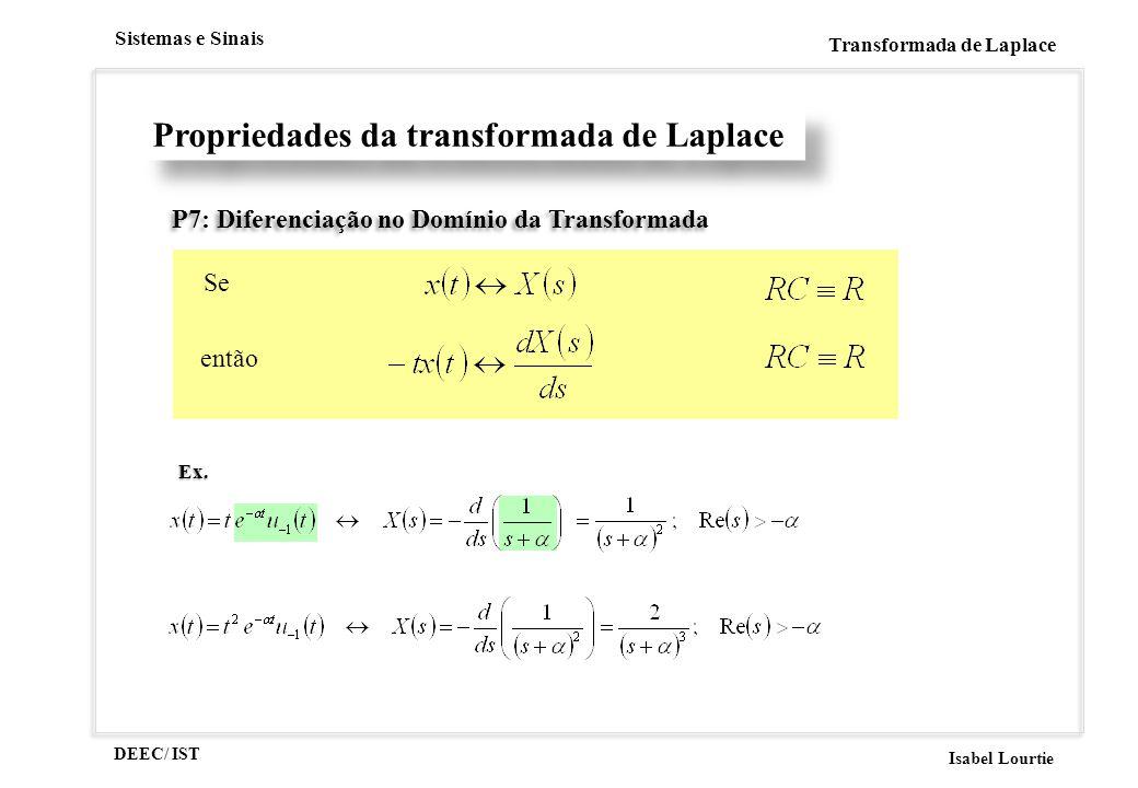 DEEC/ IST Isabel Lourtie Sistemas e Sinais Transformada de LaplaceEx. Propriedades da transformada de Laplace P7: Diferenciação no Domínio da Transfor
