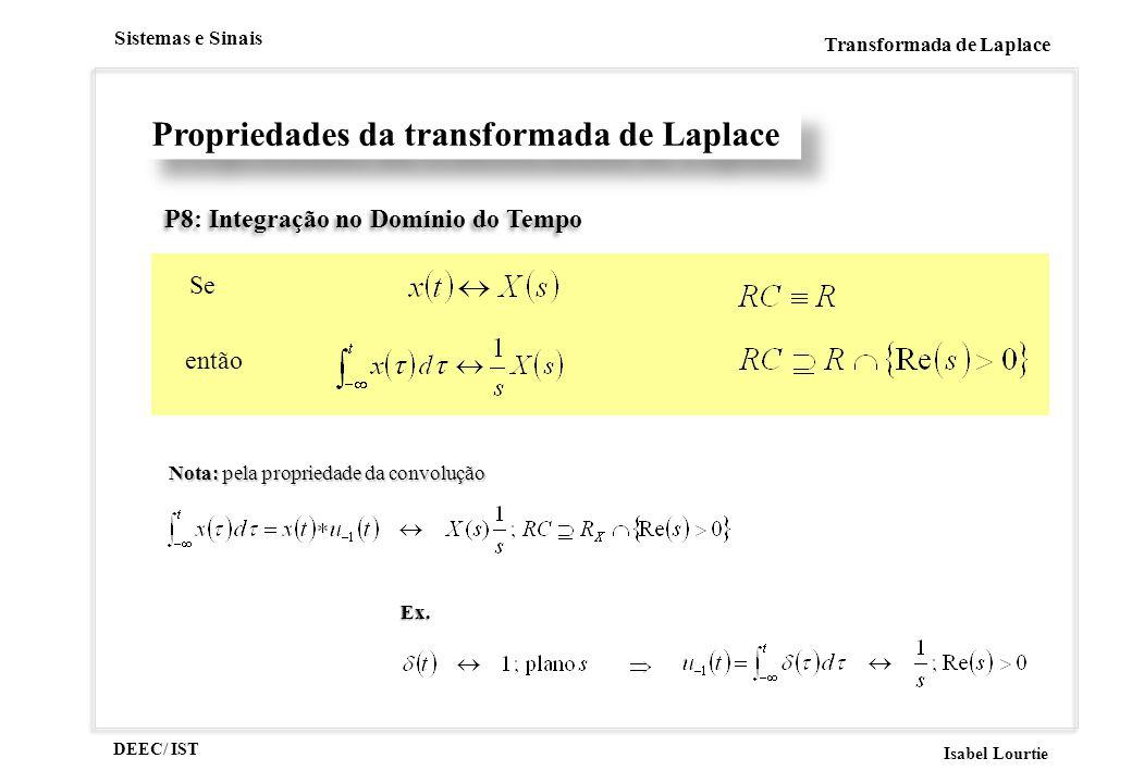 DEEC/ IST Isabel Lourtie Sistemas e Sinais Transformada de Laplace P8: Integração no Domínio do Tempo Se então Propriedades da transformada de Laplace Nota: pela propriedade da convolução Ex.