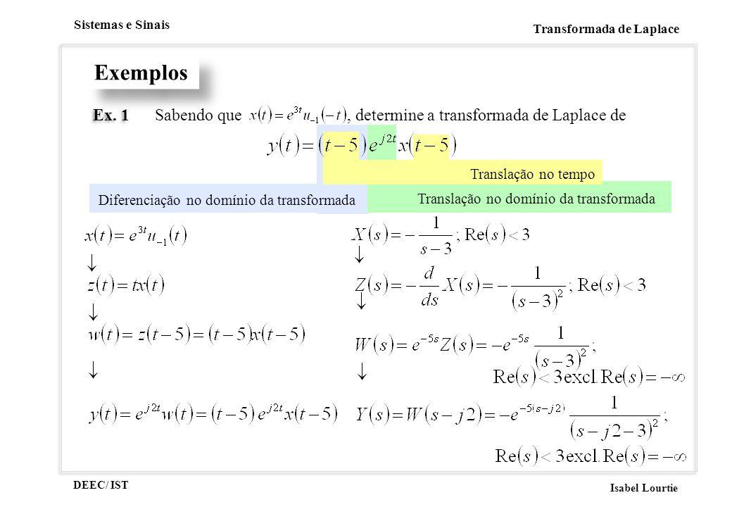 DEEC/ IST Isabel Lourtie Sistemas e Sinais Transformada de Laplace Diferenciação no domínio da transformada Translação no domínio da transformada Tran