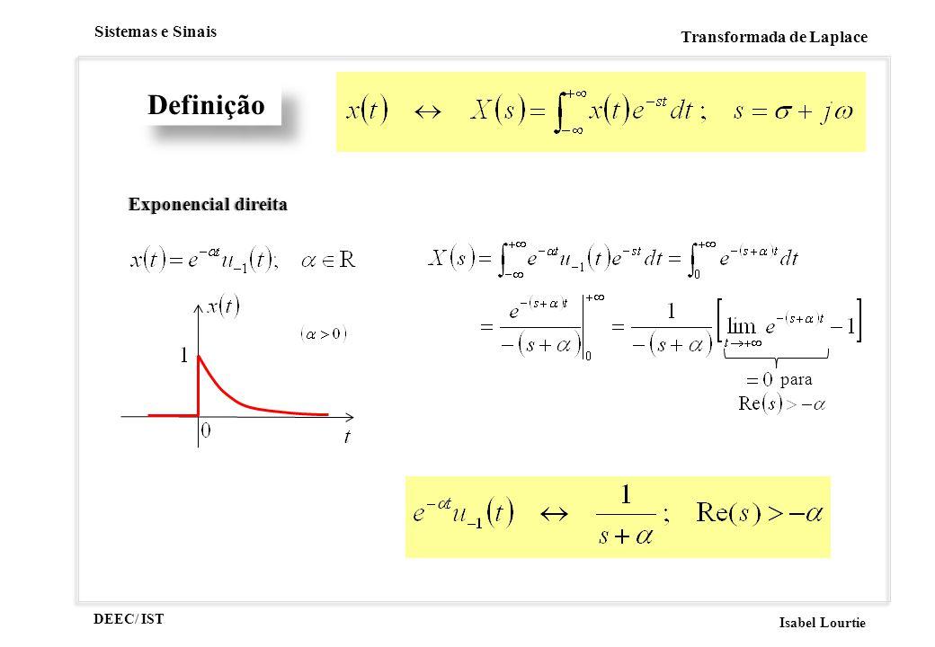 DEEC/ IST Isabel Lourtie Sistemas e Sinais Transformada de Laplace Definição Exponencial direitaExponencial direita para