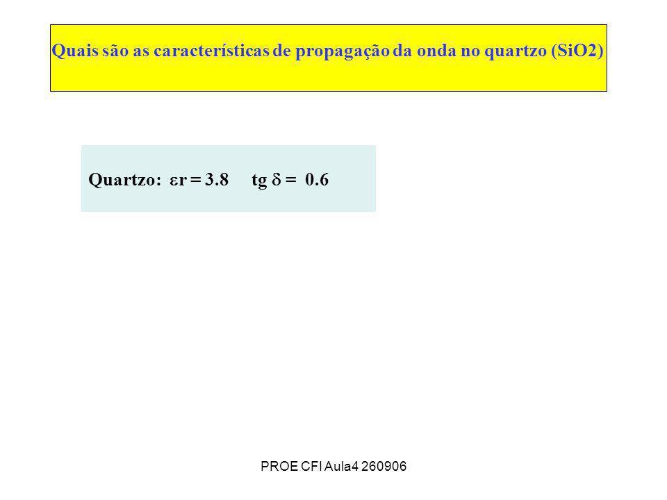 PROE CFI Aula4 260906 Quais são as características de propagação da onda no quartzo (SiO2) Quartzo: r = 3.8 tg = 0.6