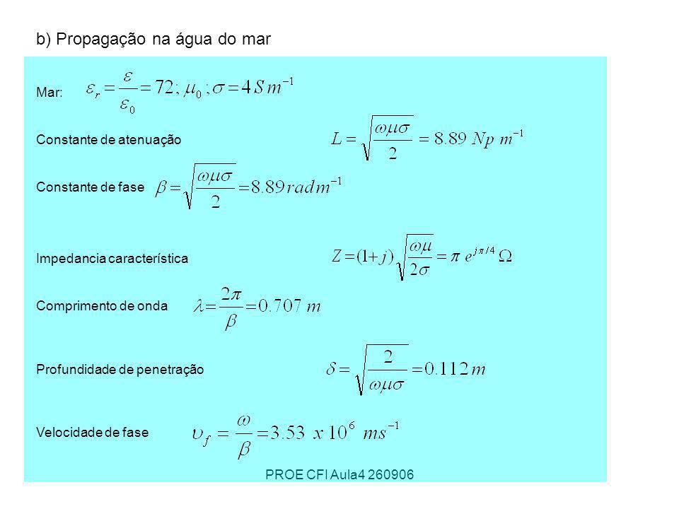 PROE CFI Aula4 260906 b) Propagação na água do mar Mar: Constante de atenuação Constante de fase Impedancia característica Comprimento de onda Profund