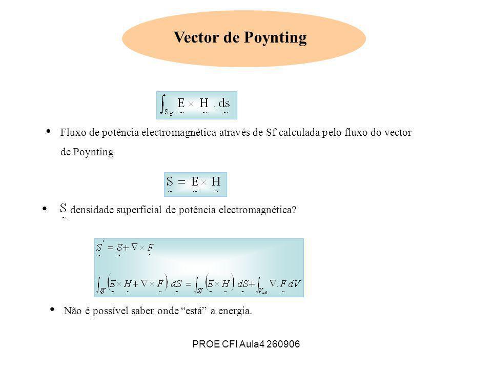 PROE CFI Aula4 260906 Vector de Poynting Fluxo de potência electromagnética através de Sf calculada pelo fluxo do vector de Poynting Não é possível sa