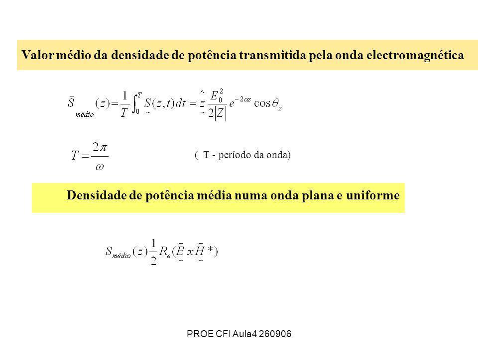 PROE CFI Aula4 260906 Valor médio da densidade de potência transmitida pela onda electromagnética ( T - período da onda) Densidade de potência média n