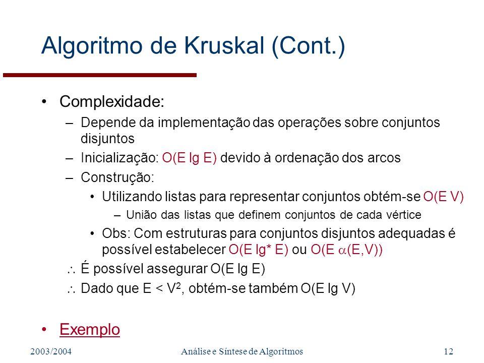 2003/2004Análise e Síntese de Algoritmos12 Algoritmo de Kruskal (Cont.) Complexidade: –Depende da implementação das operações sobre conjuntos disjunto